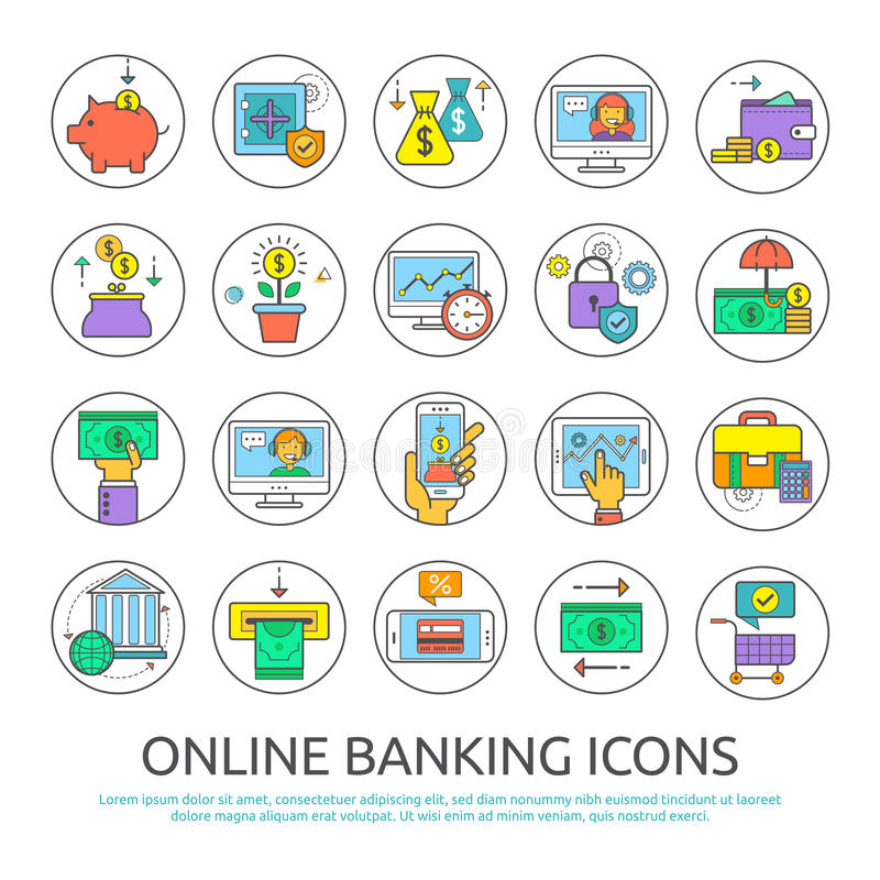 Online banking icons. Set icons of online banking. Flat line icons for banking, finance, online payment, m-banking, savings, internet payment security, for vector illustration