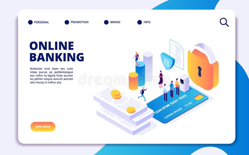 Online banking isometric landing page. Vector internet money transfers, secure payment, mobile banking app stock illustration