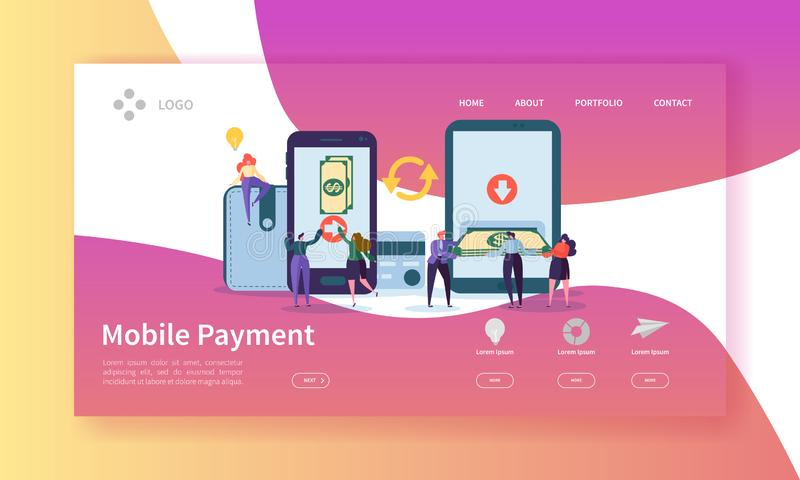 Online Banking Landing Page. Mobile Payment Banner with Flat People Characters Making Payments Using Smartphone Website vector illustration