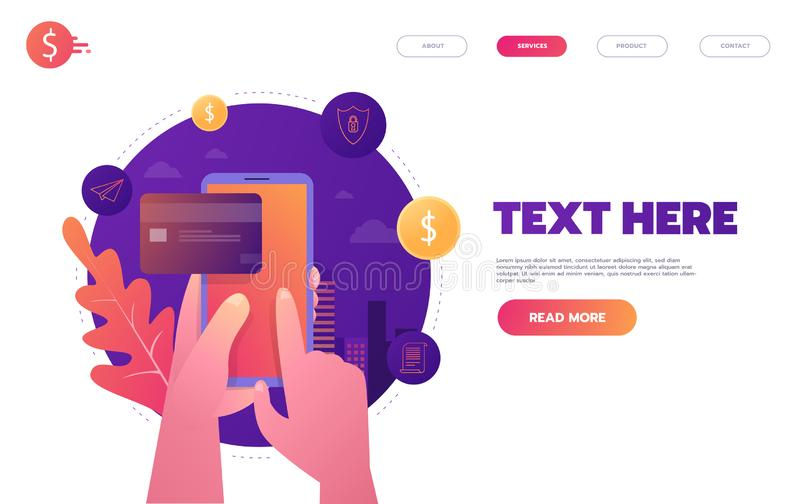 Online banking, mobile payment, pay per click, money transfer concept. Flat design style vector illustration royalty free illustration