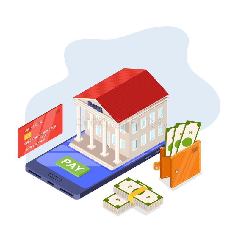 Online banking service, vector isometric illustration. Bank building on smartphone screen. Payment mobile app concept royalty free illustration