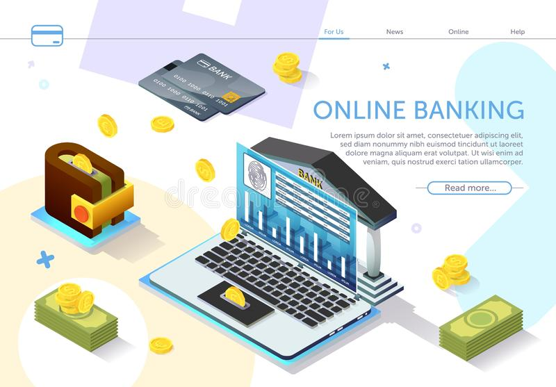 Online Banking. Types Monetary Units. Vector. Online Banking on Laptop Monitor Screen. Types Monetary Units. Online Payment System. Internet Service. Modern stock illustration