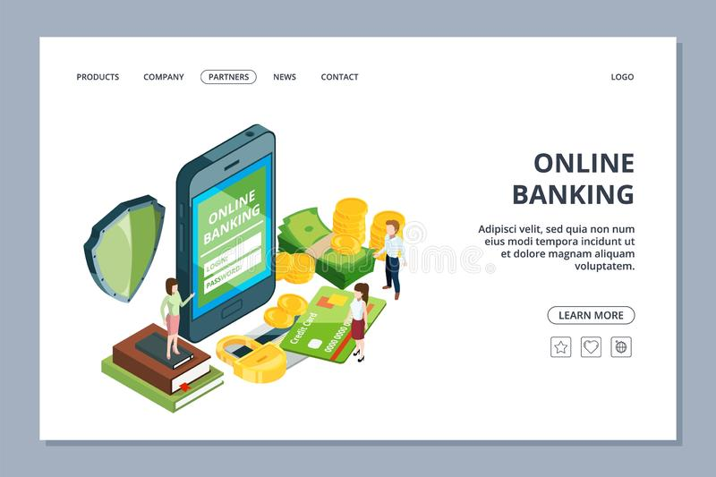 Online banking web page. Isometric security concept. Vector smartphone, tiny people and money. Mobile payment app stock illustration