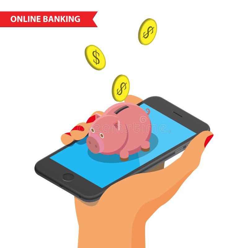 Online-Bankings-Illustration lizenzfreie abbildung