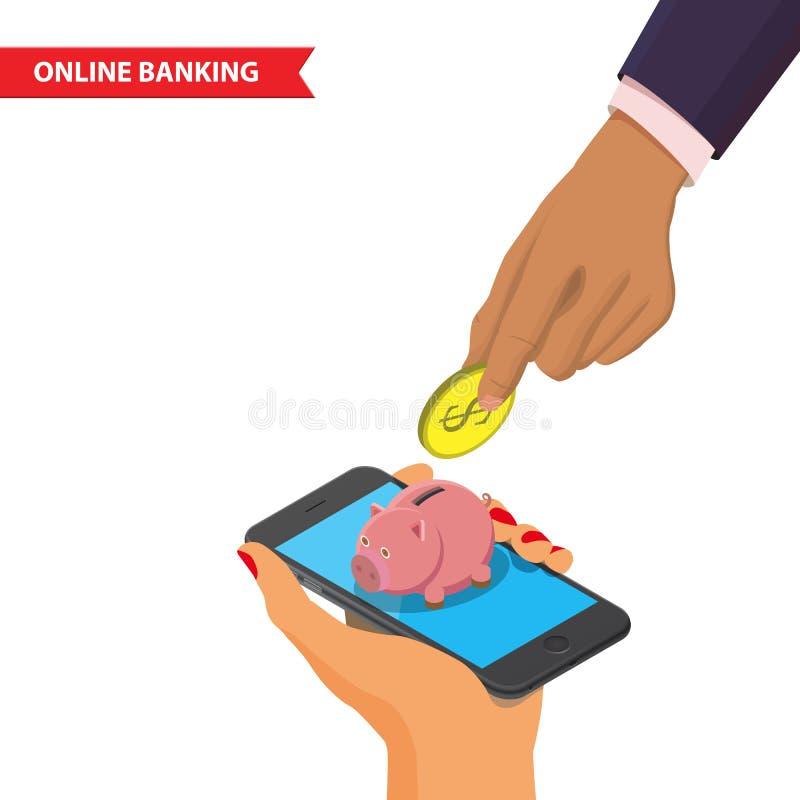 Online-Bankings-Illustration vektor abbildung