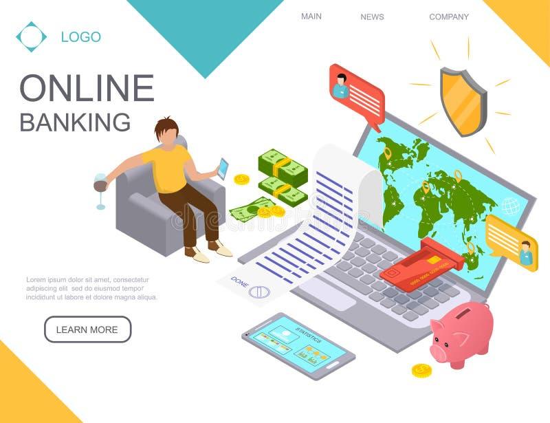 Online-Bankings-Landungswebseiten-Schablone Vektor stock abbildung