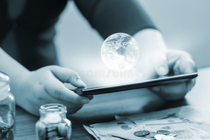 Online bankowość i internet bankowość dla finansowego pojęcia NASA cre obraz stock