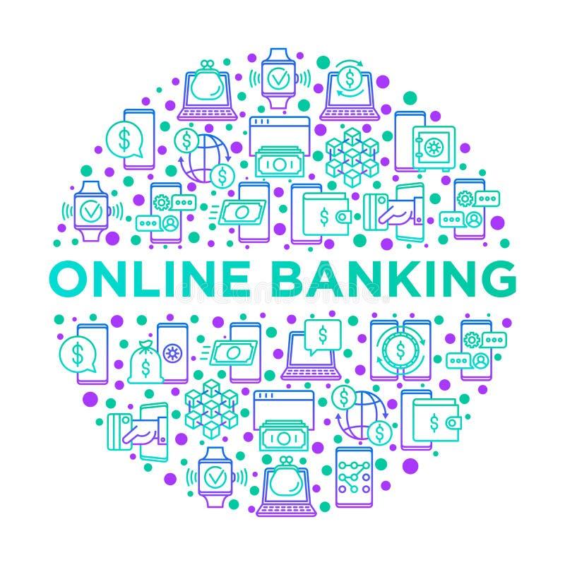 Online bankowość pojęcie w okręgu z cienkimi kreskowymi ikonami: depozytowy app, pieniądze bezpieczeństwo, interneta bank, contac ilustracji