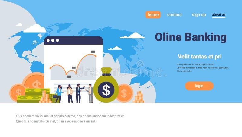 Online bankowości pieniądze wykresu bogactwa pojęcia dolara monety ikony wzrostowi ludzie finansują analizę nad światowej mapy tł ilustracja wektor