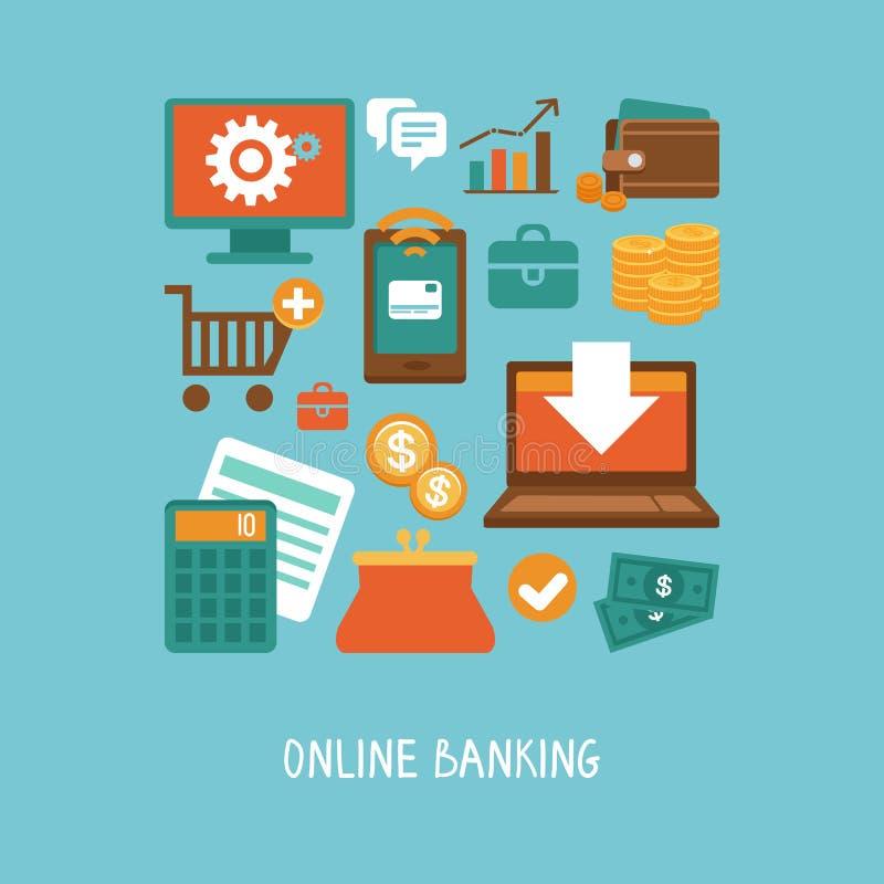Online-bankrörelsen och affär vektor illustrationer