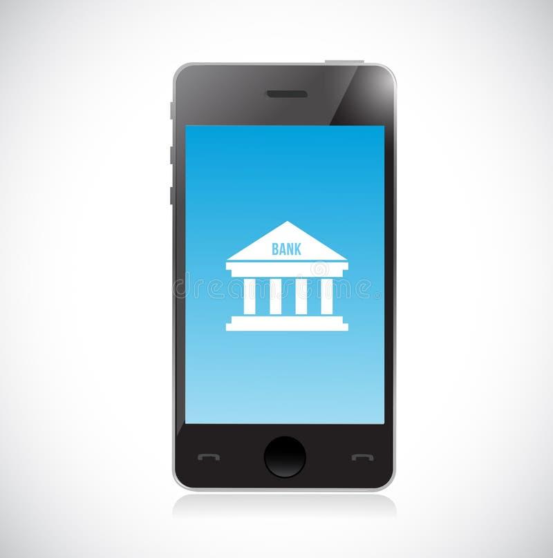 Online-bankrörelsen på en smart telefon framförd illustrationbild för begrepp 3d stock illustrationer