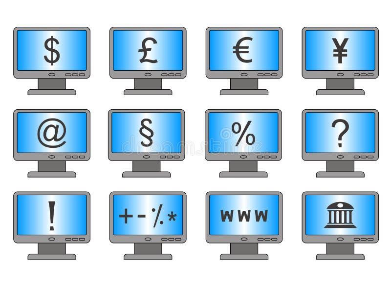 Online bankwezen en het online winkelen stock illustratie