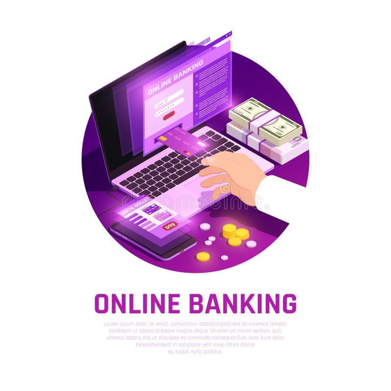 Online Bankwezen Isometrische Ronde Samenstelling vector illustratie