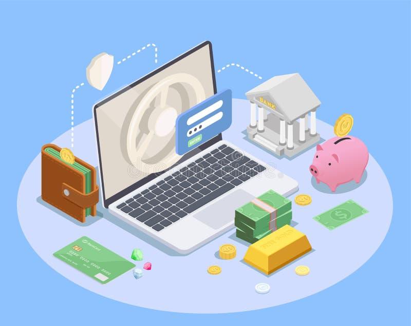 Online Bankwezen Isometrische Samenstelling royalty-vrije illustratie