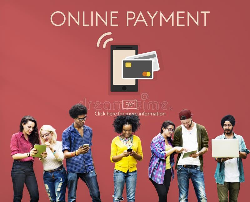 Online Bankwezen Mobiel Portefeuille e-Beleggend Concept stock foto