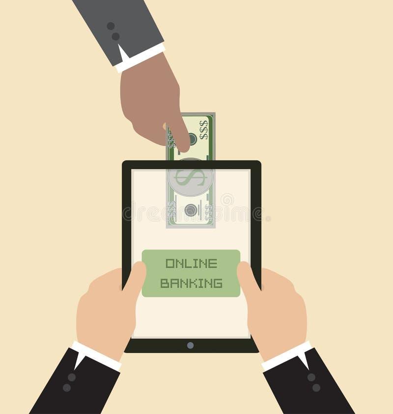 Online bankwezenconcept: Verzend geld via slimme phon royalty-vrije illustratie