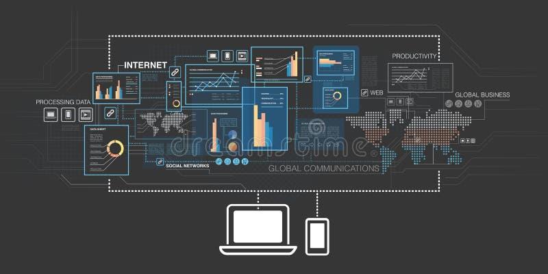 Online bedrijfsachtergrond royalty-vrije illustratie