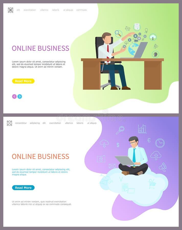 Online Bedrijfsarbeiderszitting op Wolk met PC royalty-vrije illustratie