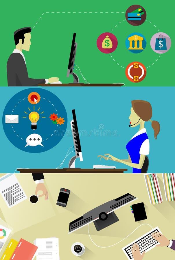 Online bedrijfsdiebanners met online bankwezenbetaling worden geplaatst in vlakke stijl royalty-vrije illustratie