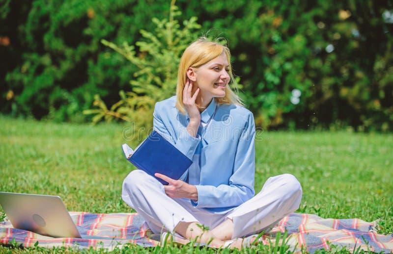Online bedrijfsidee?nconcept De vrouw met laptop of het notitieboekje zit op weide van het deken de groene gras Bedrijfspicknickc stock fotografie