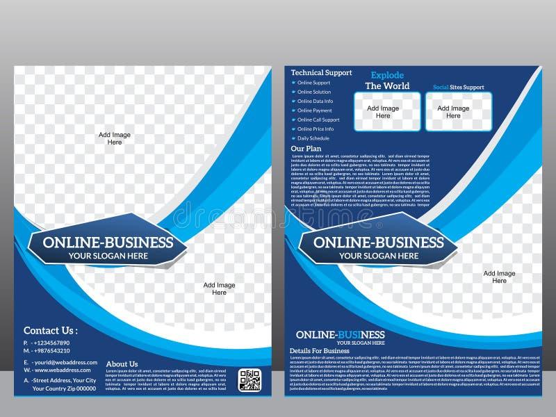 Online bedrijfsvliegermalplaatje & Tijdschrift stock illustratie
