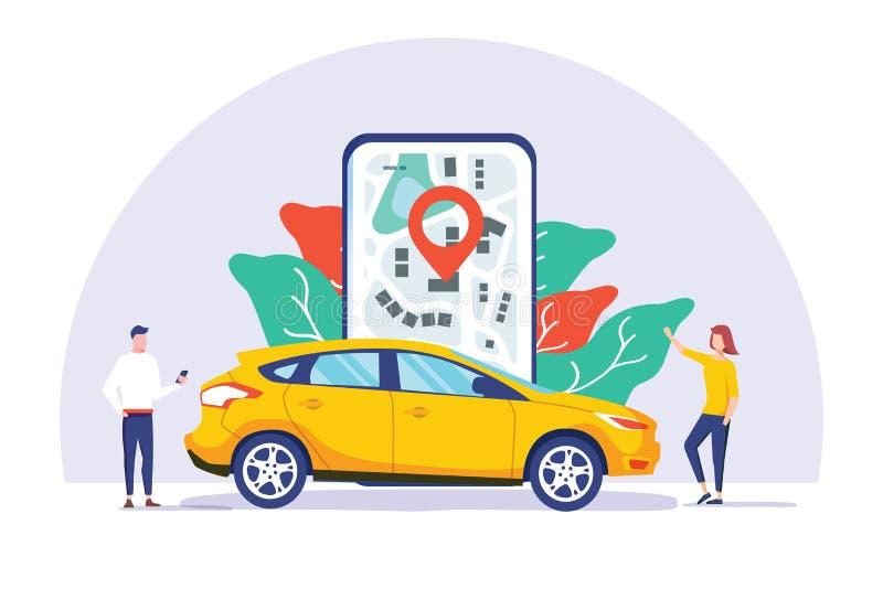Online-begrepp för illustration för vektor för dela för bil, mobilt stadstrans. med tecknad filmteckenet och brukssmartphone stock illustrationer