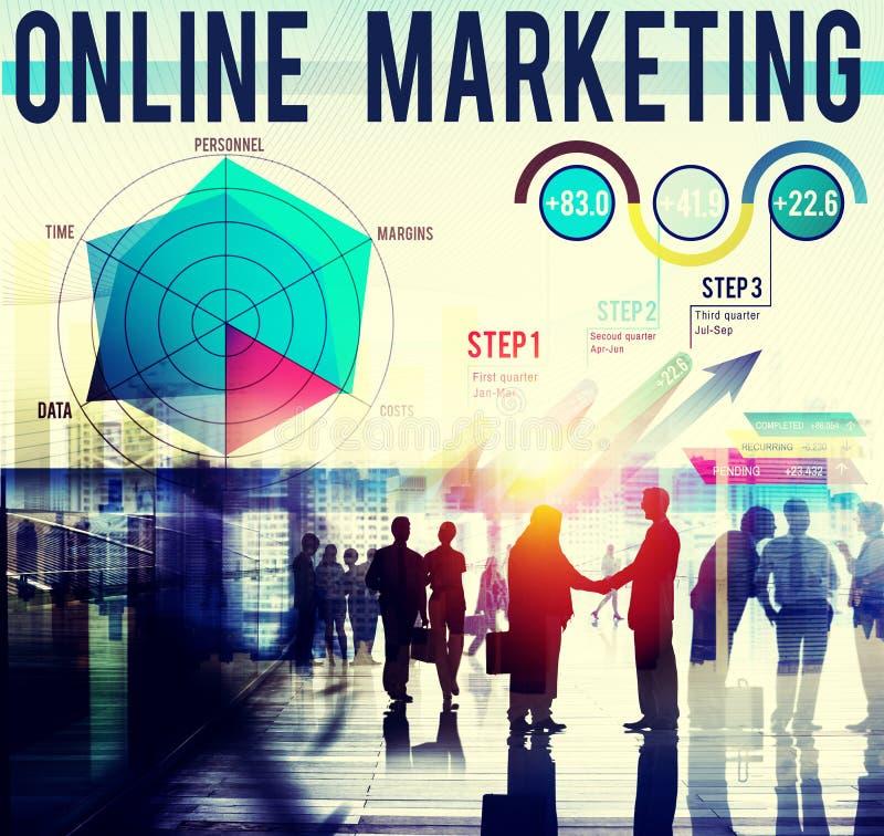 Online-begrepp för strategi för global affär för marknadsföring royaltyfria foton