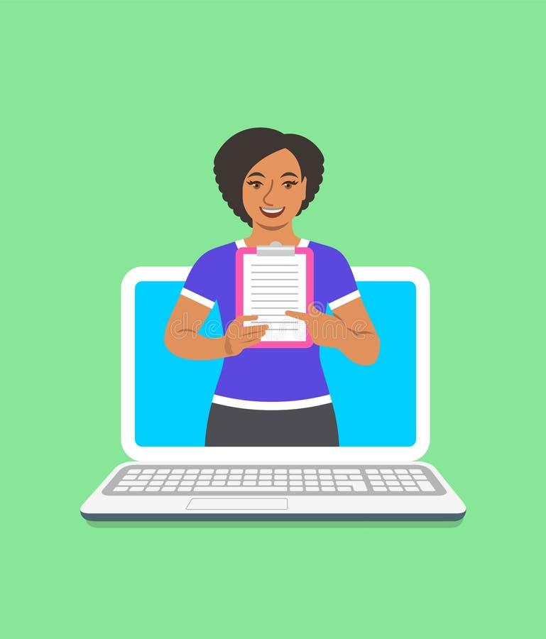 Online-begrepp för svart kvinnakonditioninstruktör royaltyfri illustrationer