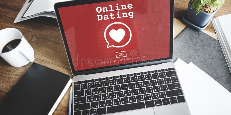 Online-begrepp för teknologi för datummärkningDigital Matchmaking arkivbild