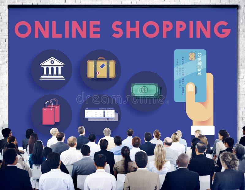 Online-begrepp för utgifter för shoppingmarknadsföringskommers fotografering för bildbyråer