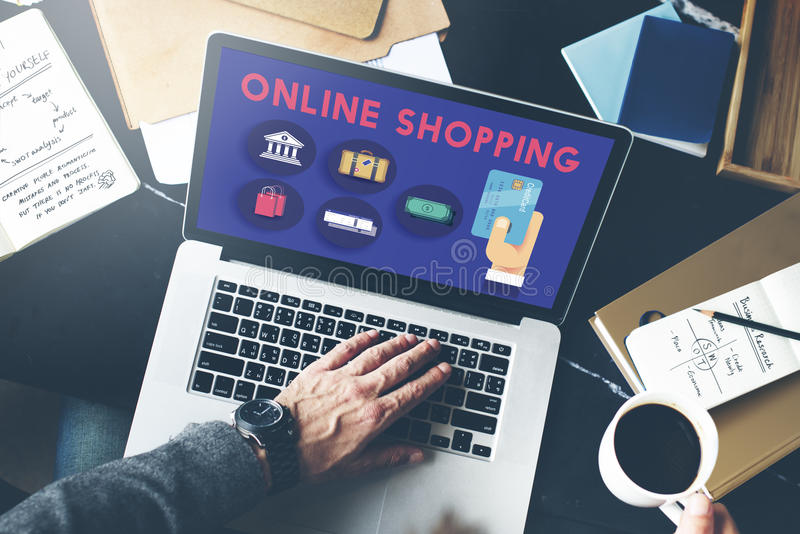 Online-begrepp för utgifter för shoppingmarknadsföringskommers royaltyfria foton