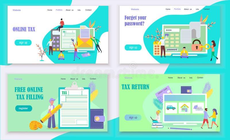 Online-begrepp f?r skattbetalning vektor illustrationer