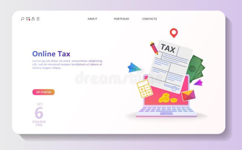 Online belastingsbetaling Mensen die belastingsvorm vullen royalty-vrije illustratie