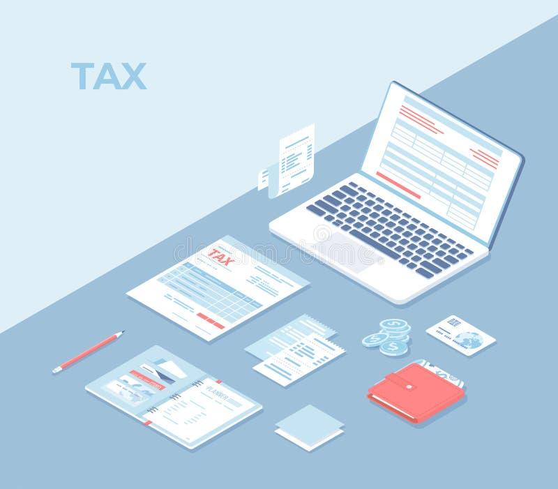 Online belastingsbetaling, mobiele toepassing Vullende belastingsvorm via computer Belastingsvorm, laptop, documenten, rekeningen royalty-vrije illustratie