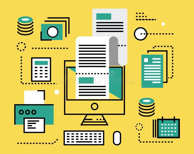 Online belastingsbetaling vlakke lijnpictogrammen en infographics Zieke vector stock illustratie