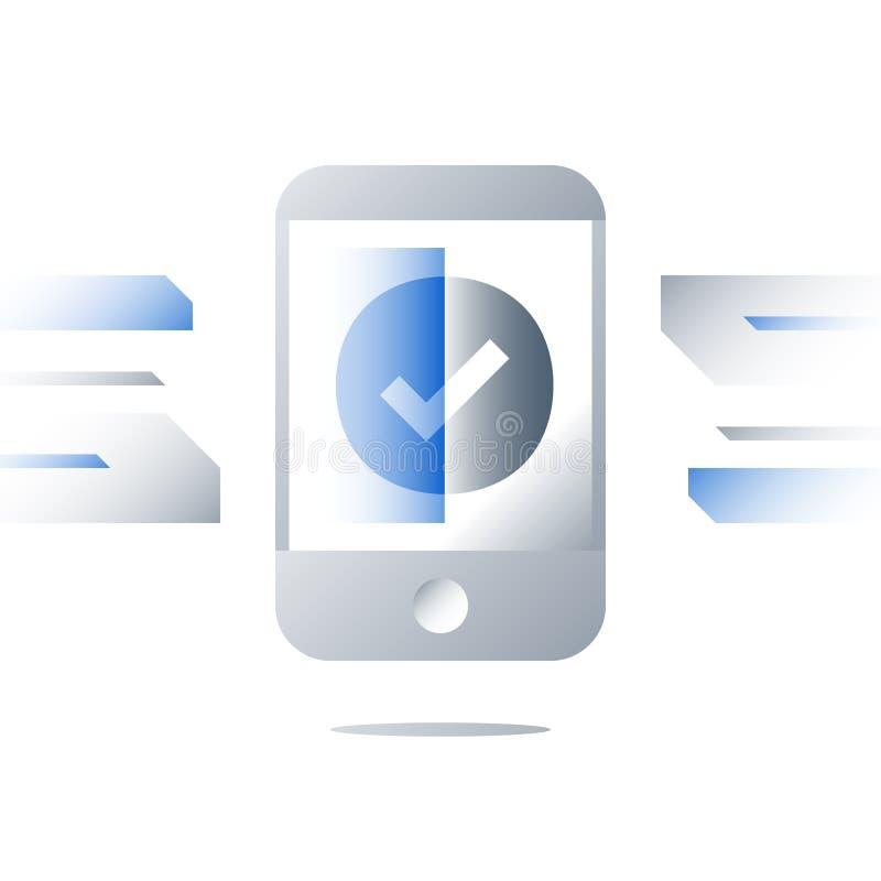 Online-bemyndigande, kontrollfläck på smartphoneskärmen, mobil service, legitimationsmeddelande, registreringsbekräftelse stock illustrationer