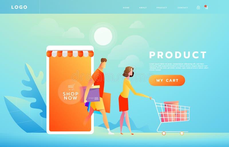 Online betaling die toepassingsconcept met paar hanteren die op smartphone winkelen Aankopen op Internet Handel reclame stock illustratie