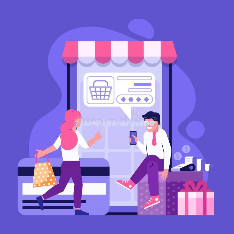 Online Betalingsconcept met Mensen die online winkelen vector illustratie