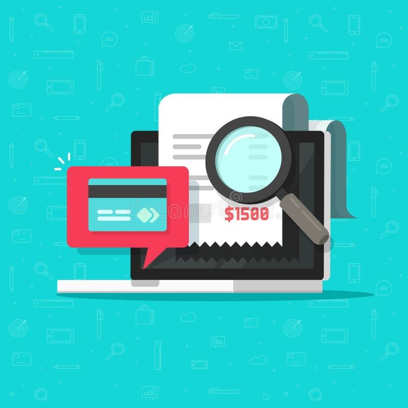 Online betalingscontrole die op computer vectorillustratie, het onderzoek van de loonsrekening analyseren naar laptop financieel  stock illustratie