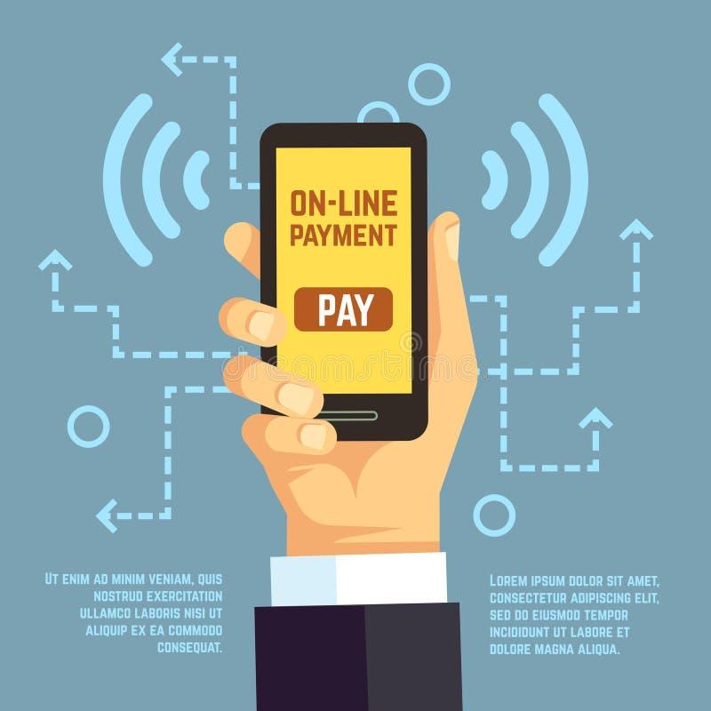Online-betalningöverföring, mobil lön med smartphonen begrepp för e-bankrörelsevektor royaltyfri illustrationer