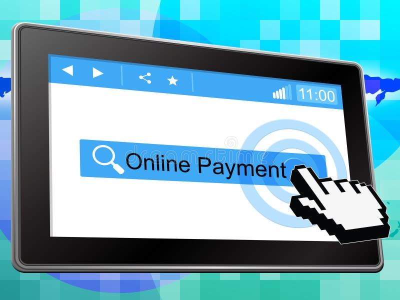 Online-betalning föreställer world wide web och belopp royaltyfri illustrationer