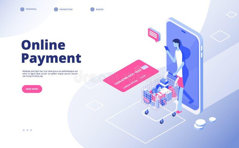 Online-betalning Internetbetalningar som shoppar pengartransaktioner som tjänar smartphonesäkerhet som packar ihop finansiell tek vektor illustrationer