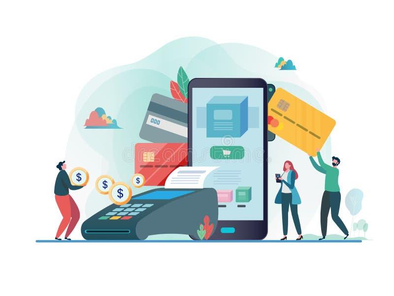 Online-betalning med smartphonen Betalt av kreditkorten linje shopping Design för tecken för plan vektorillustration modern royaltyfri illustrationer