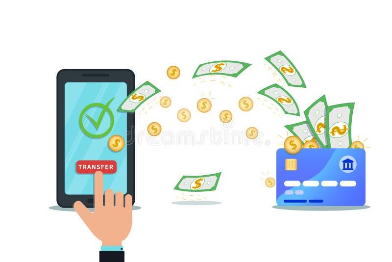 Online-betalning, pengaröverföring, mobilt plånbokappbegrepp Plan smartphone med nfckreditkorten och isolerad kontrollfläck royaltyfri illustrationer