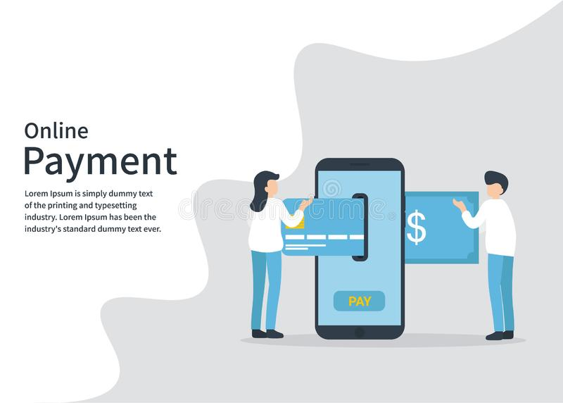 Online-betalning, telefon, kort, pengar, transaktion royaltyfri illustrationer