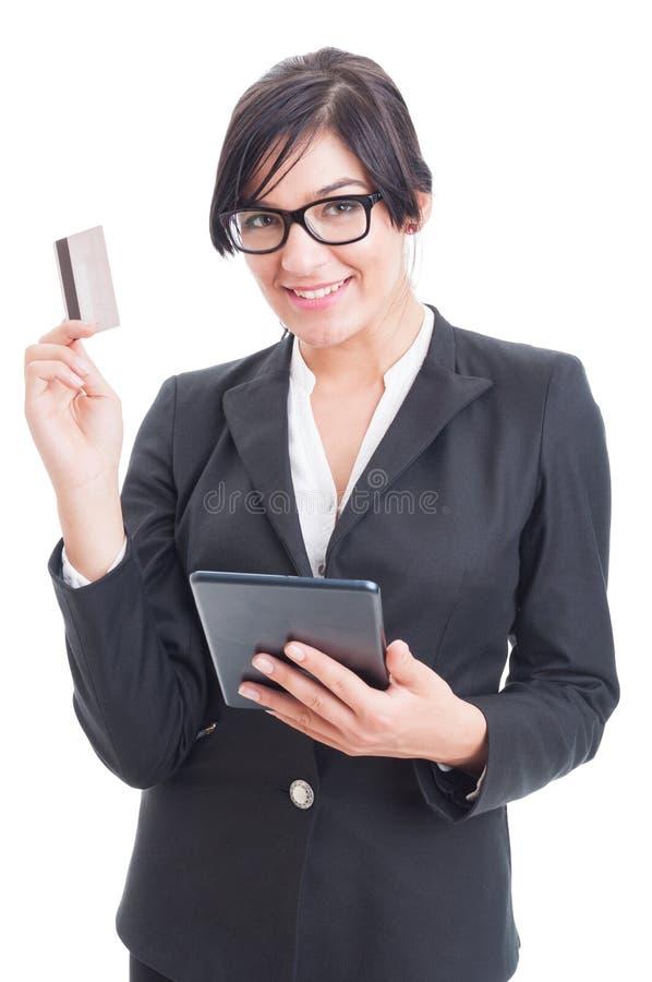 Online-betalningar genom att använda trådlös minnestavlaPC fotografering för bildbyråer
