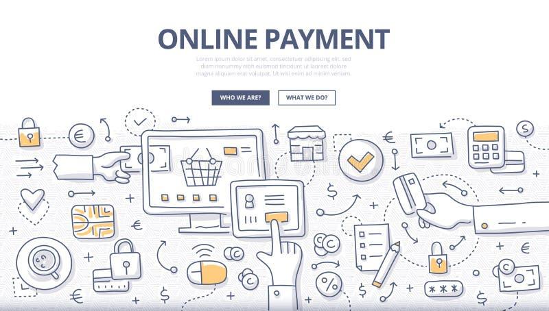 Online-betalningklotterbegrepp stock illustrationer