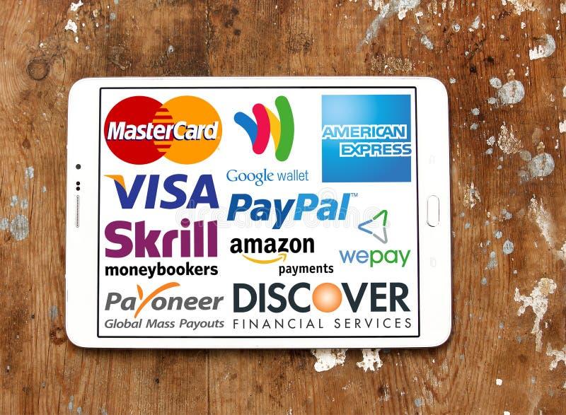 Online-betalningservice och systemlogoer och vektor royaltyfria foton
