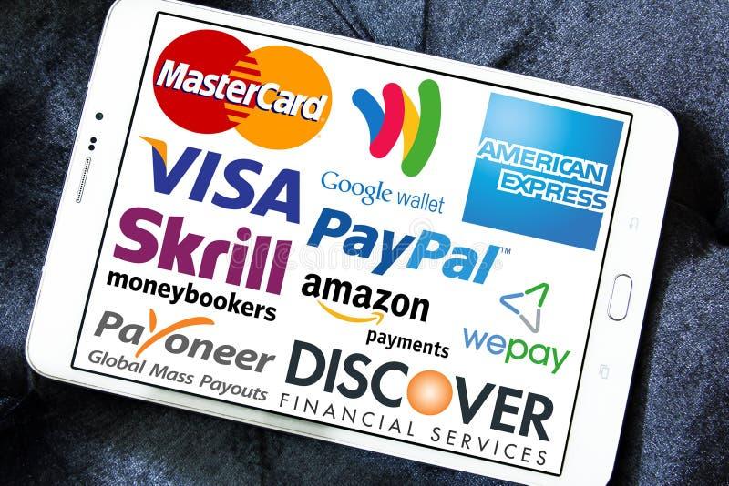 Online-betalningservice och systemlogoer och vektor fotografering för bildbyråer