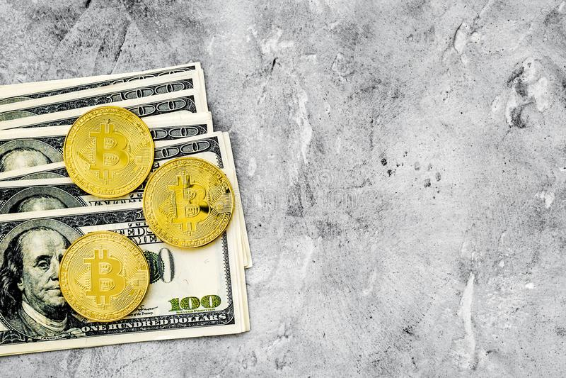 Online-betalninguppsättning med guld- bitcoins och pengar på grå modell för bästa sikt för bakgrund royaltyfria bilder